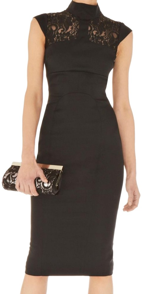 f49858ee6a4 Karen Millen Black Lace Insert Midi Fitted Cocktail Dress. Size  4 (S)  Length  Mid-Length ...