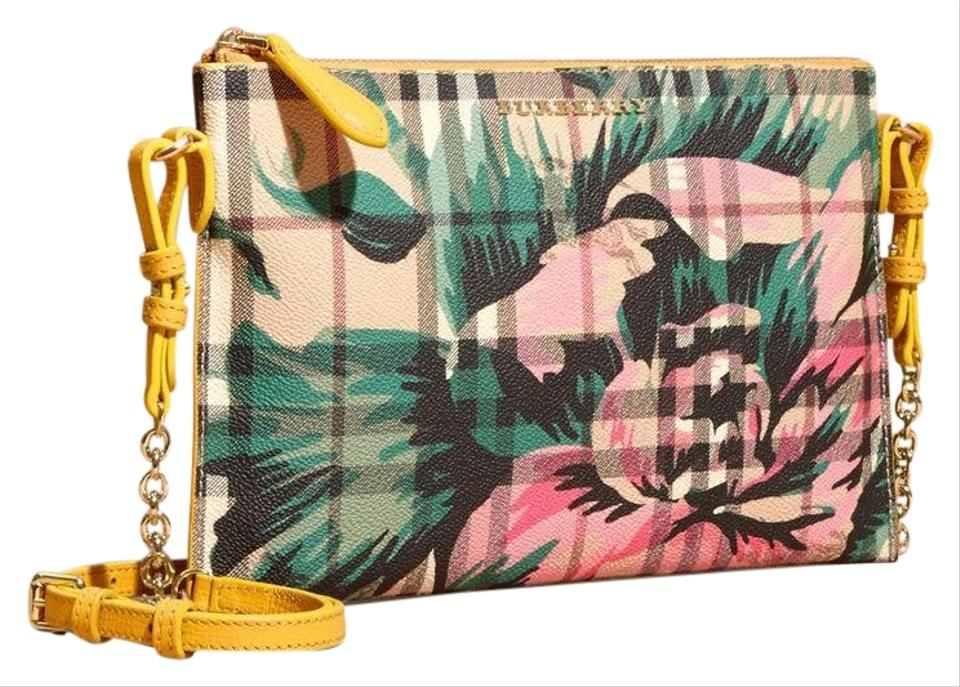 fdaff755652d Burberry Peony Rose Print Haymarket Check and Leather Clutch In Larch  Yellow Emerald Green Limited Edition Cross Body Bag