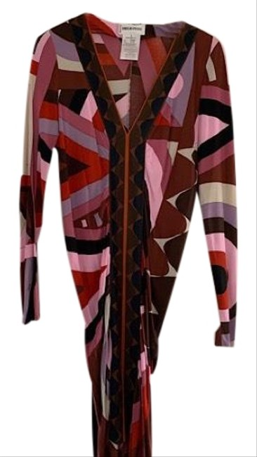 Preload https://img-static.tradesy.com/item/24919621/emilio-pucci-pink-and-brown-cerchi-print-rouched-mid-length-workoffice-dress-size-10-m-0-1-650-650.jpg