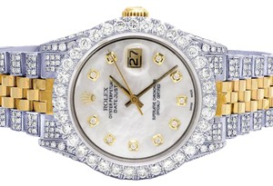 Rolex Mens Ladies 18K/ Steel Datejust 36MM 16013 MOP Dial Diamond 9.5 Ct