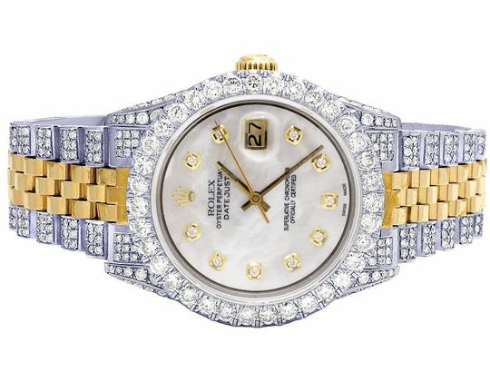 Rolex Mens Ladies 18K/ Steel Datejust 36MM 16013 MOP Dial Diamond 9.5 Ct Image 1