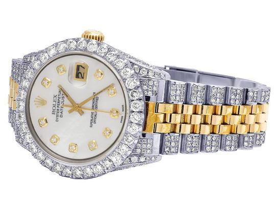 Rolex Mens Ladies 18K/ Steel Datejust 36MM 16013 MOP Dial Diamond 9.5 Ct Image 2