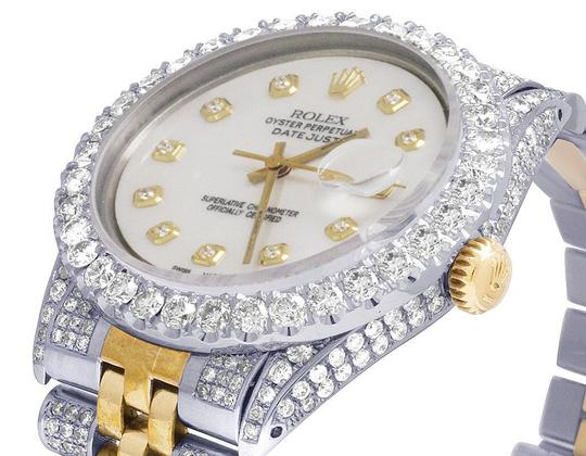 Rolex Mens Ladies 18K/ Steel Datejust 36MM 16013 MOP Dial Diamond 9.5 Ct Image 3