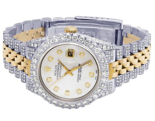Rolex Mens Ladies 18K/ Steel Datejust 36MM 16013 MOP Dial Diamond 9.5 Ct Image 7