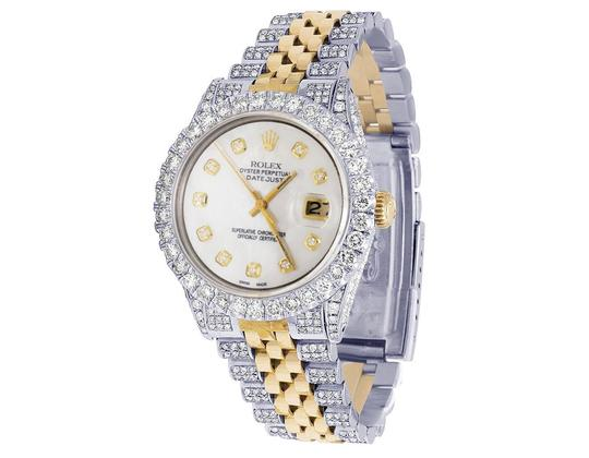 Rolex Mens Ladies 18K/ Steel Datejust 36MM 16013 MOP Dial Diamond 9.5 Ct Image 9