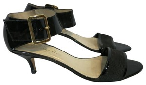 Bettye Muller Patent Leather Kitten Heel Ankle Strap Patent black Sandals