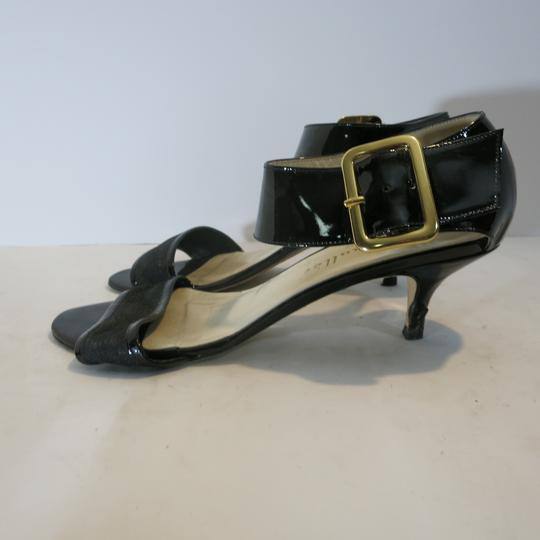 Bettye Muller Patent Leather Kitten Heel Ankle Strap Patent black Sandals Image 1