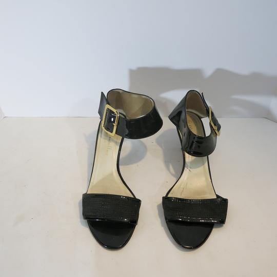 Bettye Muller Patent Leather Kitten Heel Ankle Strap Patent black Sandals Image 3