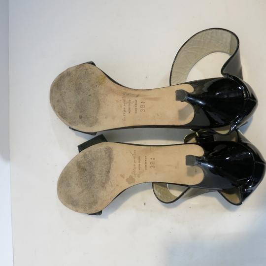 Bettye Muller Patent Leather Kitten Heel Ankle Strap Patent black Sandals Image 5