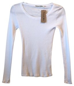 Michael Stars White Long Sleeve Scoop Neck Tee Shirt Size 2 Xs