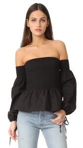 VETIVER Off-shoulder Crop Smocked Peplum Top black