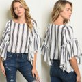 Ina Striped Wide Sleeve Blouse Size 4 (S) Ina Striped Wide Sleeve Blouse Size 4 (S) Image 2