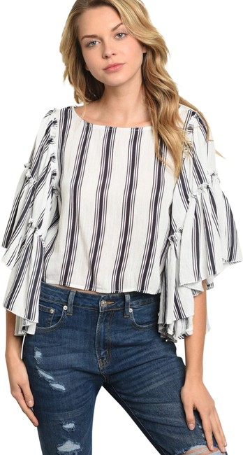 Ina Striped Wide Sleeve Blouse Size 8 (M) Ina Striped Wide Sleeve Blouse Size 8 (M) Image 1