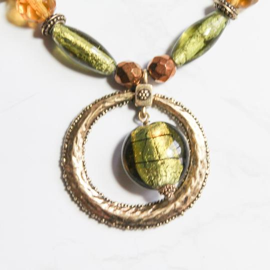 Lia Sophia Green and Brass Tone Pendant Necklace Image 1