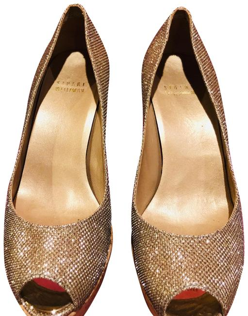 Item - Gold Anya Wedges Size US 7 Wide (C, D)