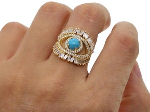 Your Dream Diamond Gold plated evil eye large Blue Opal Ring size 7