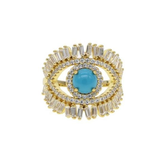 Your Dream Diamond Gold plated evil eye large Blue Opal Ring size 7 Image 2