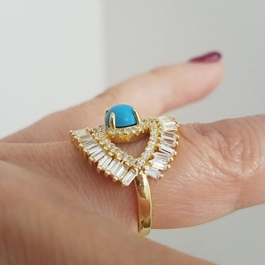 Your Dream Diamond Gold plated evil eye large Blue Opal Ring size 7 Image 4