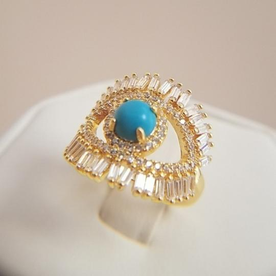 Your Dream Diamond Gold plated evil eye large Blue Opal Ring size 7 Image 7
