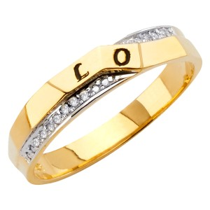 Top Gold & Diamond Jewelry 14K Two Tone Gold Cubic Zirconia Men's Wedding Band
