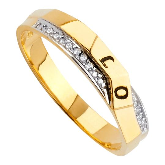 Top Gold & Diamond Jewelry 14K Two Tone Gold Cubic Zirconia Men's Wedding Band Image 2