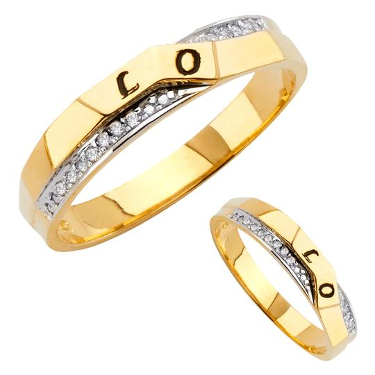 Top Gold & Diamond Jewelry 14K Two Tone Gold Cubic Zirconia Men's Wedding Band Image 3