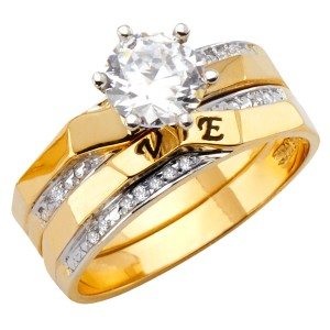 Top Gold & Diamond Jewelry 14K Two Tone Cubic Zirconia Engagement and Wedding Band Set