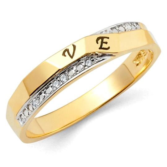 Top Gold & Diamond Jewelry 14K Two Tone Cubic Zirconia Engagement and Wedding Band Set Image 2