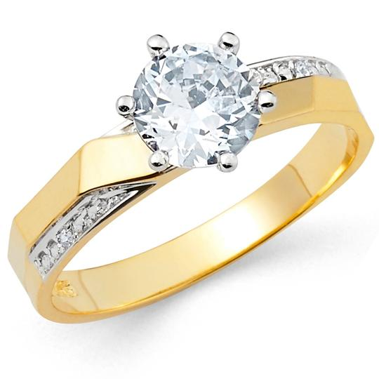 Top Gold & Diamond Jewelry 14K Two Tone Cubic Zirconia Engagement and Wedding Band Set Image 3