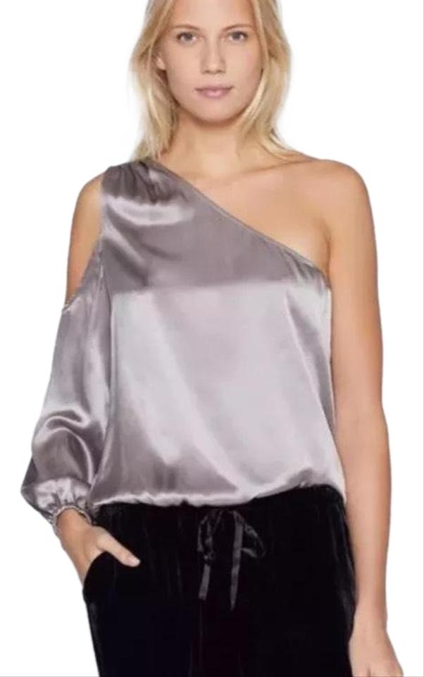 b0bc7b50de086b Joie Gray Abatha One Shoulder Silk Blouse Size 2 (XS) - Tradesy