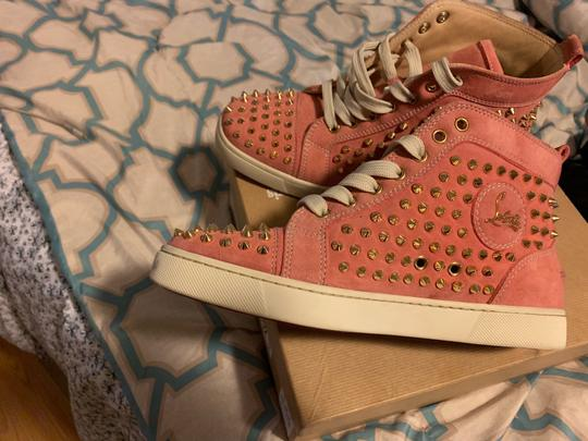 Christian Louboutin pink wit gold spikes Athletic Image 2