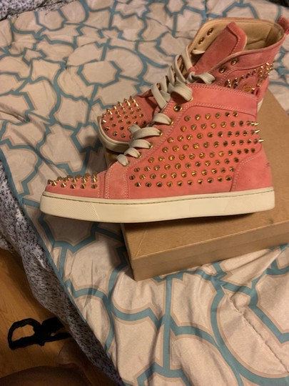 Christian Louboutin pink wit gold spikes Athletic Image 6