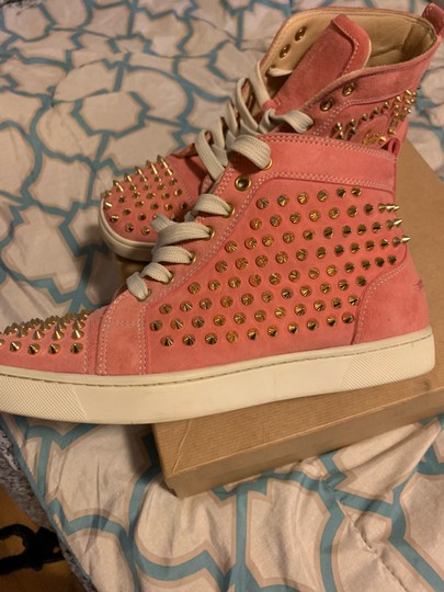 Christian Louboutin pink wit gold spikes Athletic Image 7