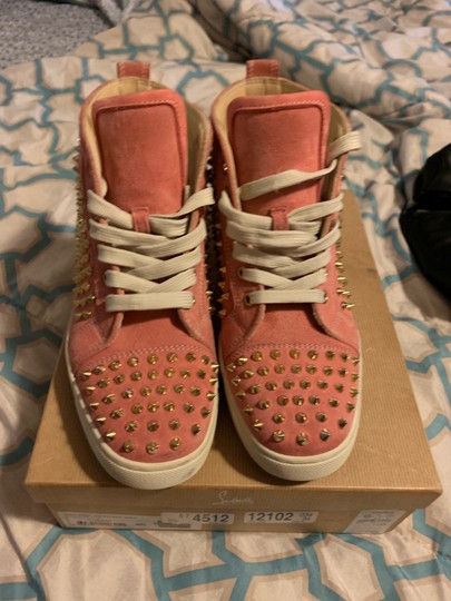 Christian Louboutin pink wit gold spikes Athletic Image 9