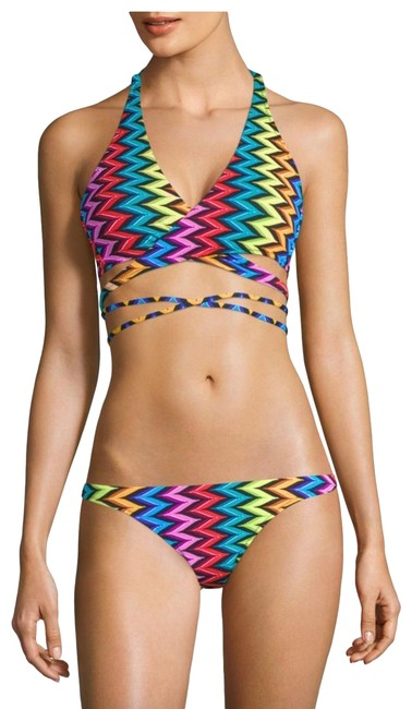 MILLY Milly Chevron Halter Wrap Bikini Top and Bottom Image 0