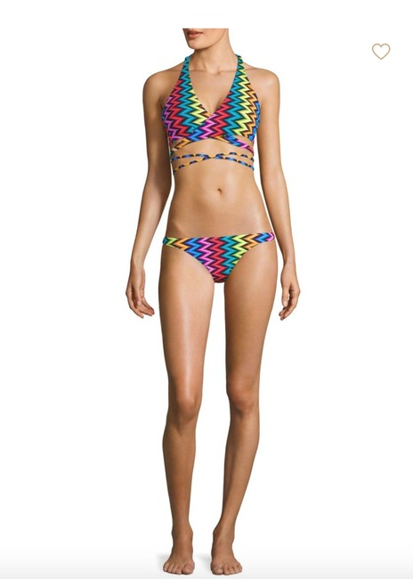 MILLY Milly Chevron Halter Wrap Bikini Top and Bottom Image 1