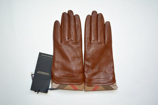 Burberry NWT BURBERRY LEATHER HOUSECHECK TRIM JANNY TOUCH GLOVES SZ 7.5 Image 1