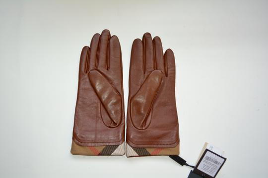 Burberry NWT BURBERRY LEATHER HOUSECHECK TRIM JANNY TOUCH GLOVES SZ 7.5 Image 2