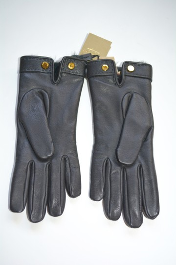 Burberry NWT BURBERRY LAMB LEATHER CHECK STITCH GRAINY RABBIT FUR LINING GLOVES Image 1