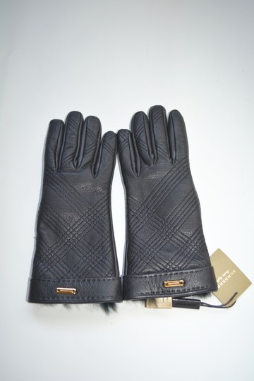 Burberry NWT BURBERRY LAMB LEATHER CHECK STITCH GRAINY RABBIT FUR LINING GLOVES Image 2