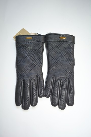 Burberry NWT BURBERRY LAMB LEATHER CHECK STITCH GRAINY RABBIT FUR LINING GLOVES Image 3