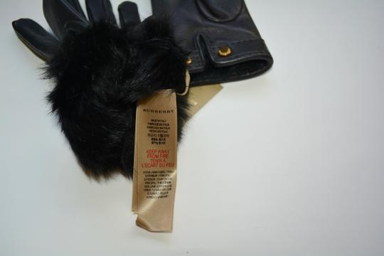 Burberry NWT BURBERRY LAMB LEATHER CHECK STITCH GRAINY RABBIT FUR LINING GLOVES Image 6