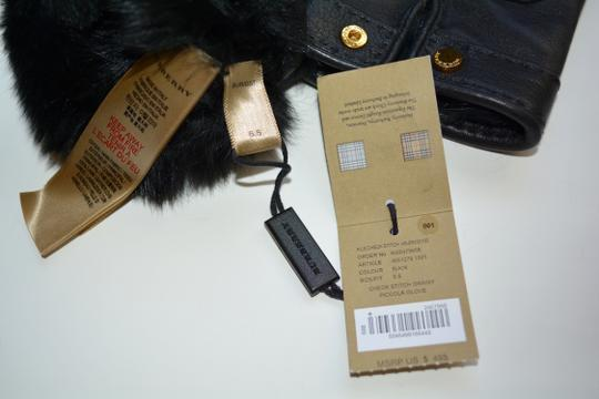 Burberry NWT BURBERRY LAMB LEATHER CHECK STITCH GRAINY RABBIT FUR LINING GLOVES Image 7