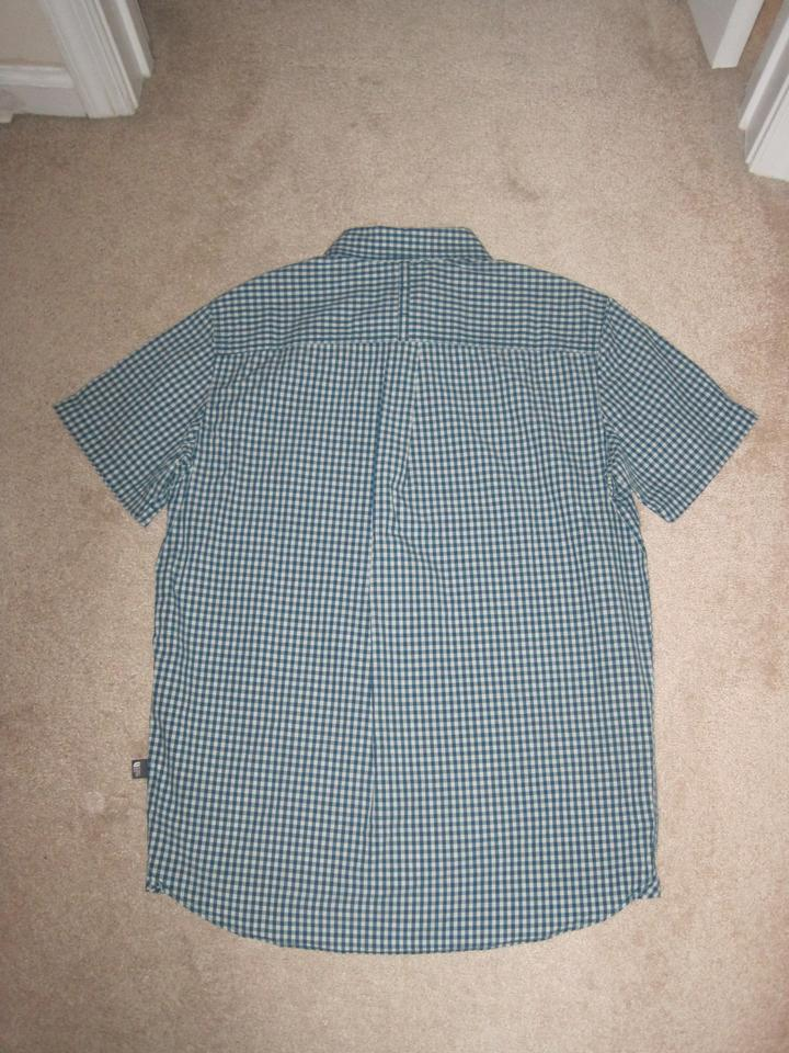 54b74684c The North Face Blue Coral Men's Short Sleeve Shadow Gingham Button-down Top  Size 8 (M) 49% off retail
