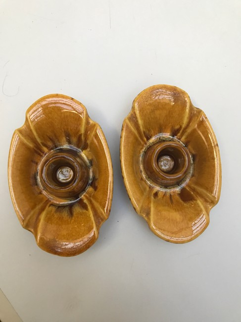 Item - Orange and Yellow/Brown Pair Of Candle Holders #3004 Fine China