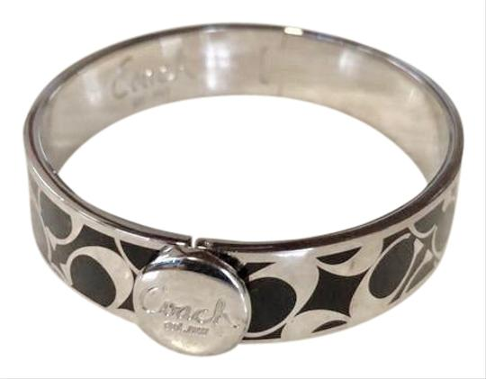 Preload https://img-static.tradesy.com/item/24920301/coach-1941-silver-tone-black-enamel-est-signature-c-hinge-bangle-12-inch-bracelet-0-5-540-540.jpg