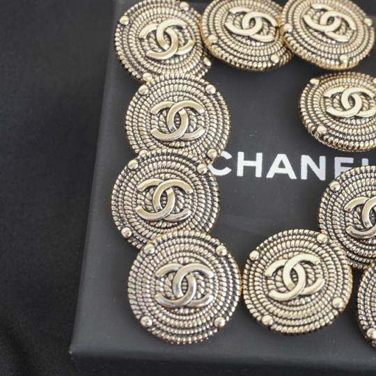 100% Chanel Buttons 9 pieces Bronze tone 100% Chanel buttons lot of 9 btonzd tone logo CC size 1 inch or 24 mm metal Image 1