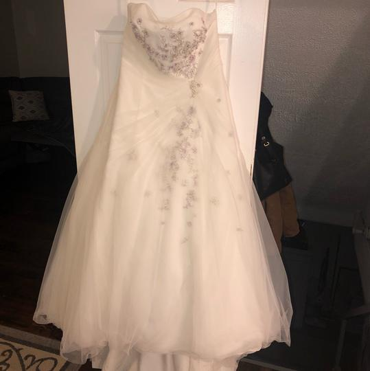 Monique Luo Ivory Rayon Polyester Cotton Formal Wedding Dress Size 14 (L) Image 1