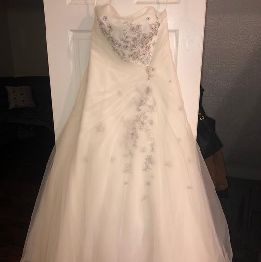Monique Luo Ivory Rayon Polyester Cotton Formal Wedding Dress Size 14 (L) Image 2