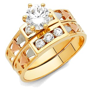 Top Gold & Diamond Jewelry 14K Tri Color Gold Cubic Zirconia Engagement and Wedding Band Ring Set